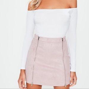 Faux Suede Blush Mini Skirt